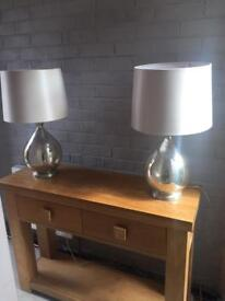 2 x matching Gold glass BHS table lamps. Quite large.