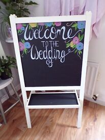 """LG HAND PAINTED CREAM WOOD CHALKBOARD STAND """"WEDDING"""" 24""""X 46 TALL """"FLORAL DESIGN"""""""