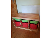 Pine toy storage unit with 3 deep and 3 shallow plastic trays