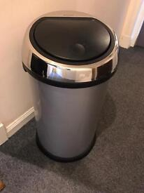 Brabantia metal silver large kitchen bin with press top opening