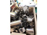Metal Teapots, milk jugs and measuring jug
