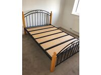 Metal wood double bed frame