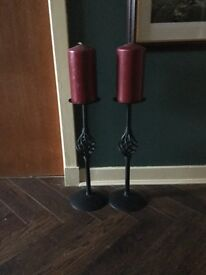 Twin wrought Iron candle holders