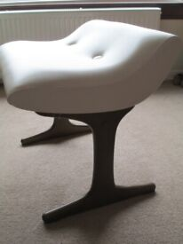 BEDROOM STOOL for dressing table/free standing. Solid wooden legs/frame with Ivory/Cream Upholstery