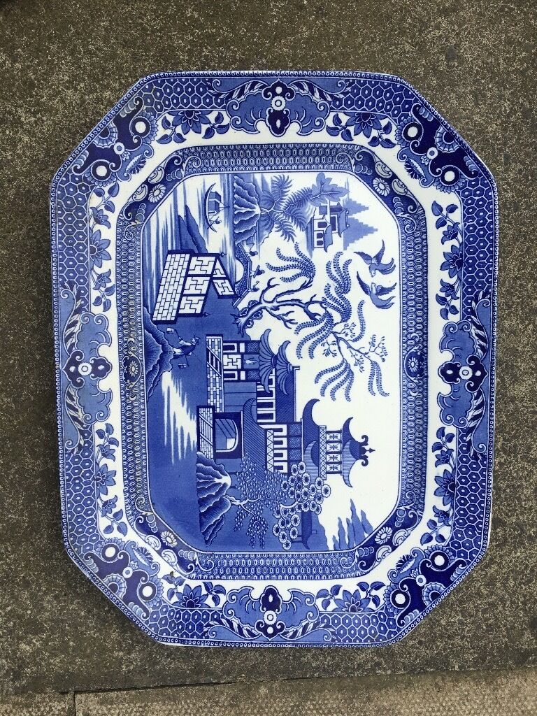 Large vintage blue & white willow pattern Meat plate Burley Ware