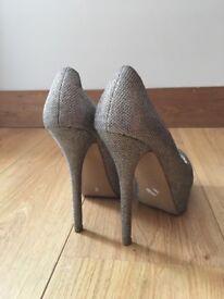 Dune gold sparkly heels