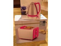 M & S Stainless steel & pink matching toaster & kettle BNIB