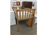 Light Wood Mid Sleeper Bed and Mattress with Pull Out Desk