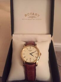 Rotary Men's gold-plated Swiss watch with original leather strap