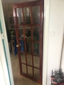 Wooden and glass door for sale