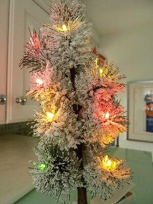 "HOLIDAY INSPIRATIONS LIGHTED CHRISTMAS TREE 13"" SNOW FLOCKED MINI LED LIGHTS MIB"