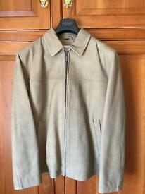 Men's Beige Harrods Leather Jacket