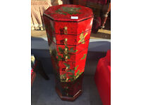 Red Lacquered Chinoiserie Eight Drawer Chest , in good condition. Free Local Delivery.