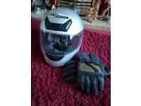 Ladies motorbike helmet and gloves