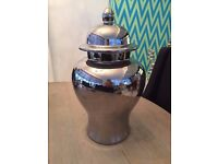 0099 - LARGE CHROME JAR / URN - COLLECTION ONLY