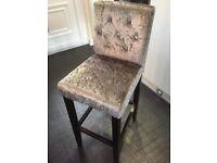 Silver velvet bar stools
