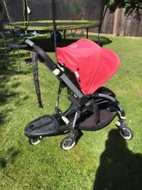 Bugaboo Bee Plus Pram bundle with car seat clips, comfort board, rain cover and foot muff
