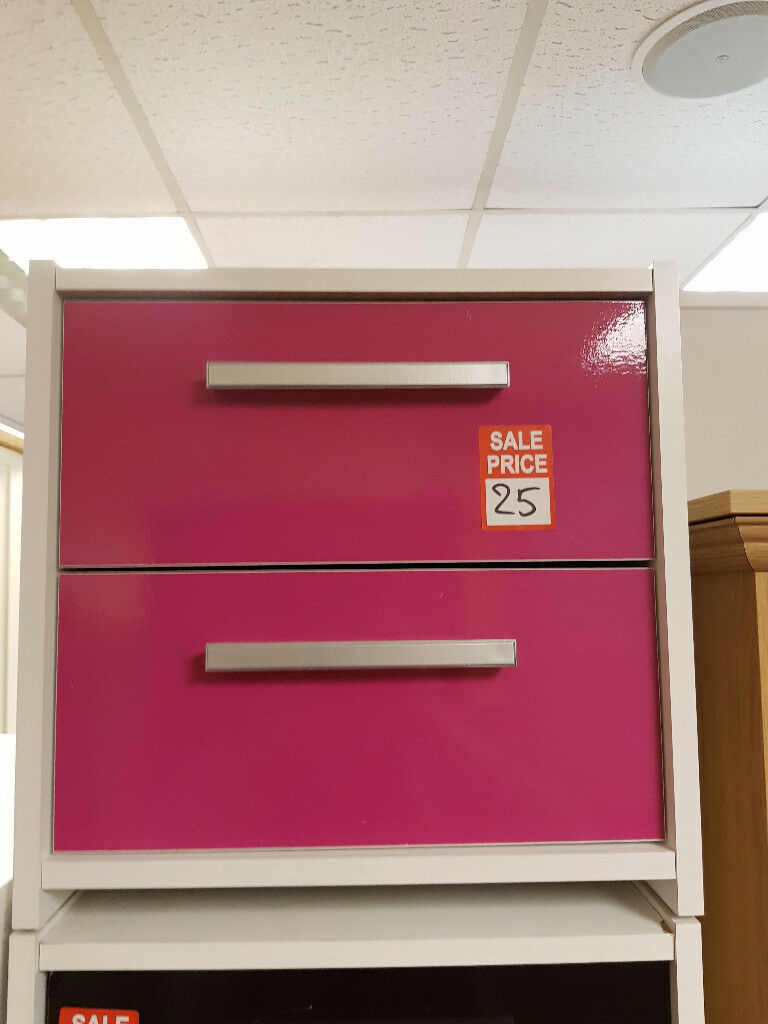 New Sywell 2 Drawer Bedside Chest - Pink Gloss