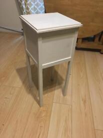 End table with inside storage compartments - shabby chic white vintage