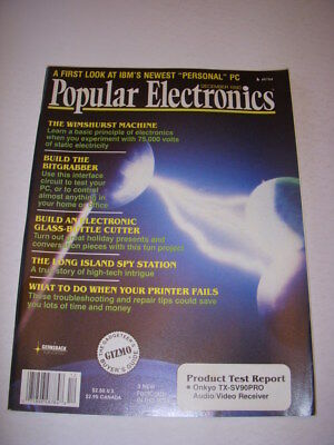 Popular Electronics Magazine  December 1990  Wimshurst Machine  Ibm Personal Pc