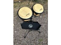 Storm pro bongo drums on stand with percussion tray