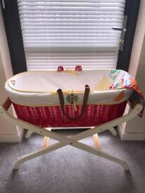 Little bird Moses basket and Mothercare stand plus extra sheets