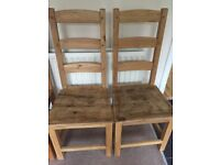 Solid wooden dining chairs x 2, good condition,