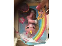 Pink unicorn fingerlings monkey