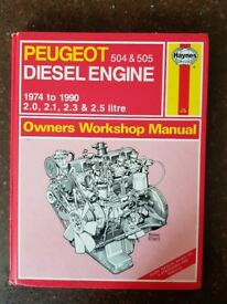 Haynes workshop manual for Peugeot 505 Diesel engine.