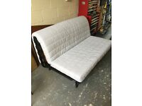 Double futon / sofa bed with cover - white. Ikea