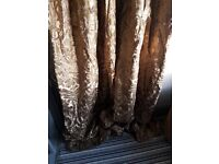 Gold /pewter curtains fully lined punch pleat