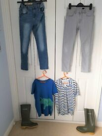Boys Clothes Age 10-12 & Wellie Boots Size 6