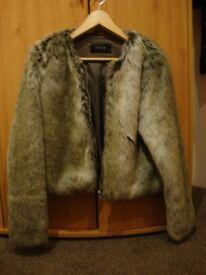 Fake fur jacket size L (12-14)