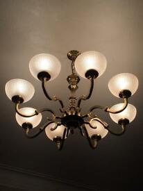Large 8 Arm Heavy Brass Ceiling Pendant, 2 Matching 2 Arm Wall Lights & 12 Glass Shades
