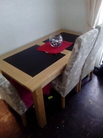 Full set dining table six chairs