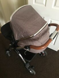 Silver cross buggy set, pram base, buggy base and car seat all attaches to pram base with change bag