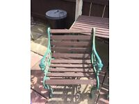 Cast iron and wood garden furniture