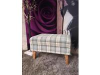 New Orkney Tartan Patterned Fabric Accent Footstool In Natural And Lime