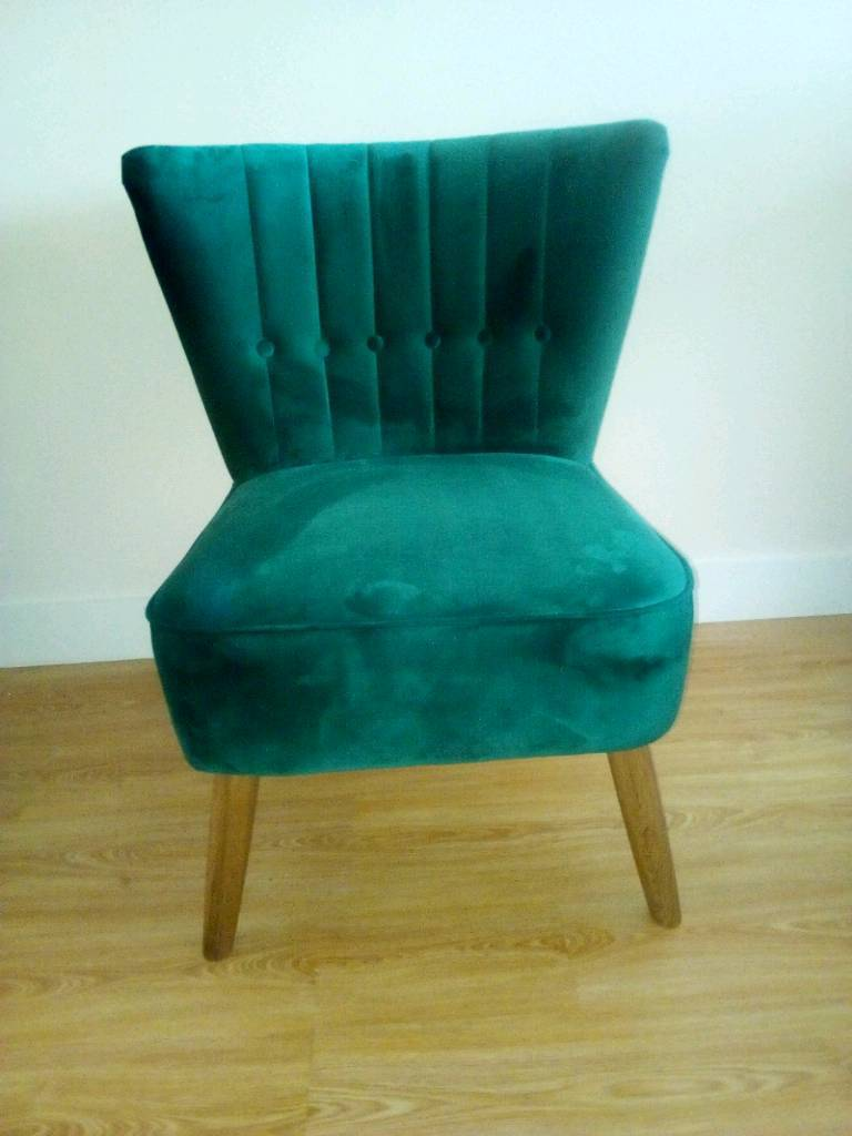 Dunelm Emerald Isla Velvet Fabric Cocktail Chair New