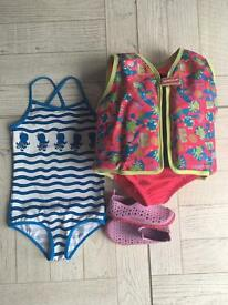 Girls Speedo Sea Squad Life jacket 2-3, M&S 2-3 swimming costume & Speedo uk 6
