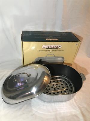 Covered Non Stick Roaster - NEW Chef's Design 13.5 Qt Covered Oval Roaster Model 1165 Premium Non Stick NEW