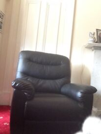 Pair of large curtains, roller blinds, black leather chair, two ikea kitchen units, carpeting ect
