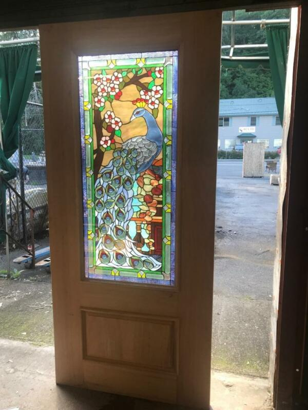 BEAUTIFUL LEADED STAINED GLASS PEACOCK EXTERIOR OR INTERIOR DOOR - JHL2167-4