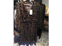 Monsoon Gold Black pleated Dress