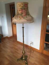 Antique Brass Arts and Crafts Standard Lamp with Fringed Lampshade