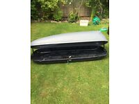Halfords half width roof box, black and grey, universal fittings, buyer to collect