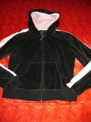Womens Weather Vane Black w Blush Trim Velour Zip Hoodie M - Trim Velour Hoodie