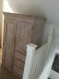 Solid pine shabby chic wardrobe/cupboard/storage - £90 **Collection from Romford, RM1, Essex**