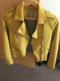 Yellow suede biker jacket size 6