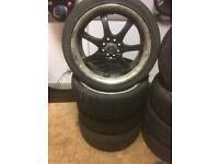 Asian Dragon 17x7 ET40 Alloy Wheels Black Centre Polished Lip 4x100/108